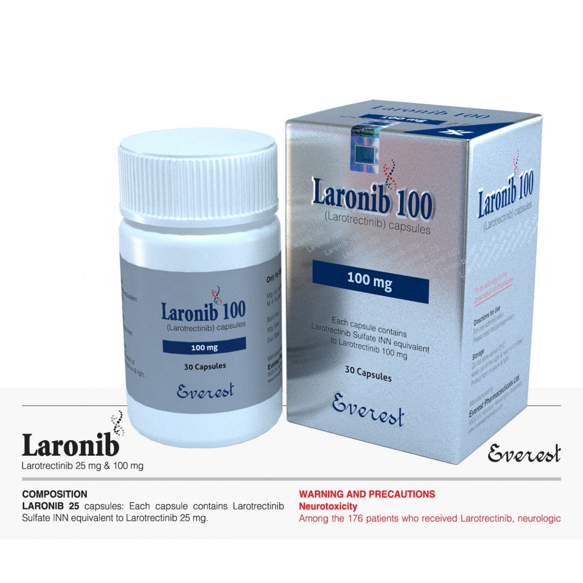 Larotrectinib Laronib 100mg (Everest)  拉罗替尼 100毫克 胶囊